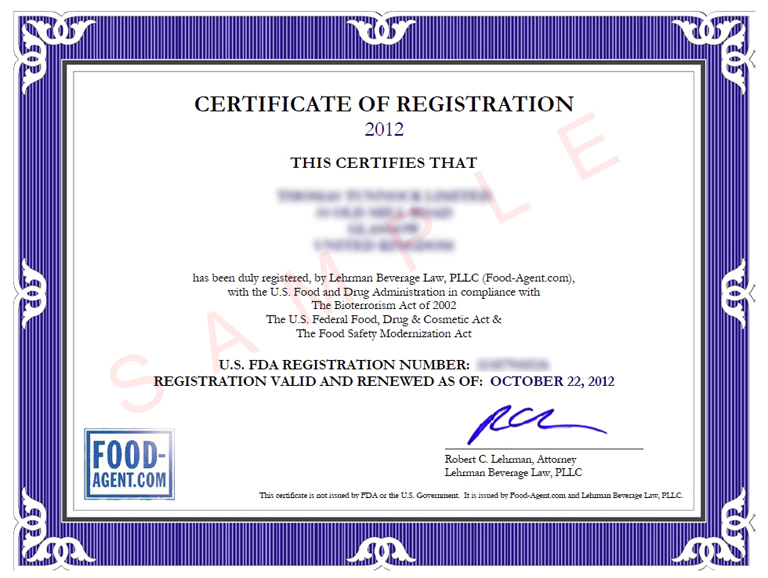 Food Agent - FDA Compliance for Worldwide Food Industry